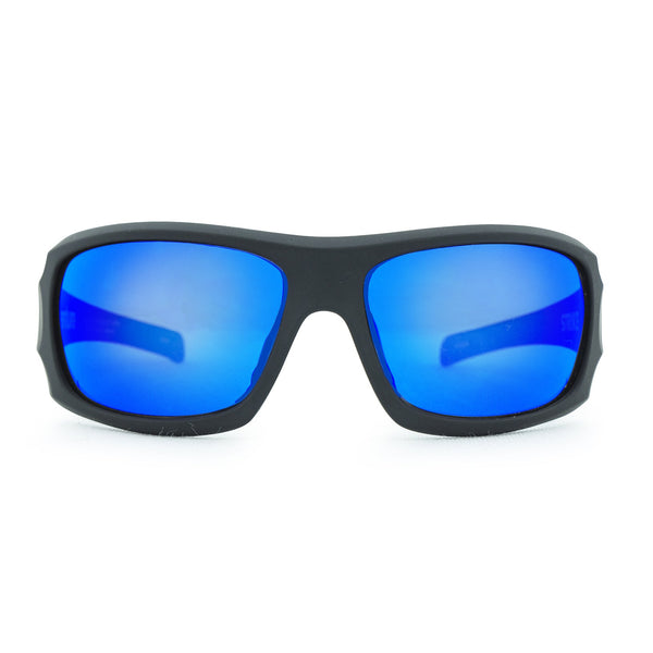 Strike Safety Sunglasses - Matt Black/Blue Revo