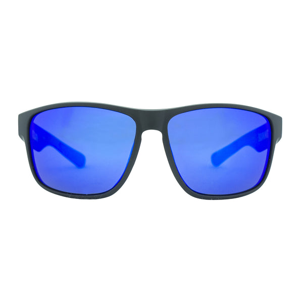 Summit Polarised Sunglasses - Matt Black/Blue Revo