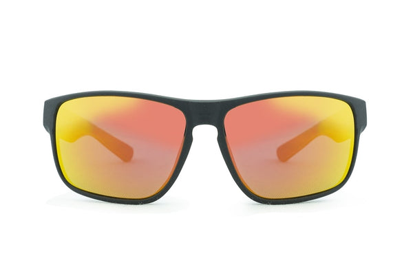 Summit Polarised Sunglasses - Matte Black/Red Revo