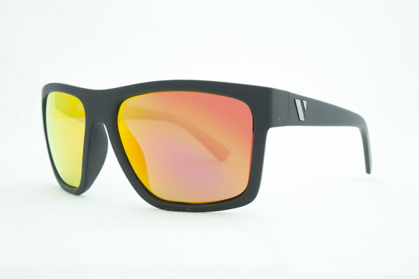 The Edge Polarised Sunglasses - Matt Black/Red Revo
