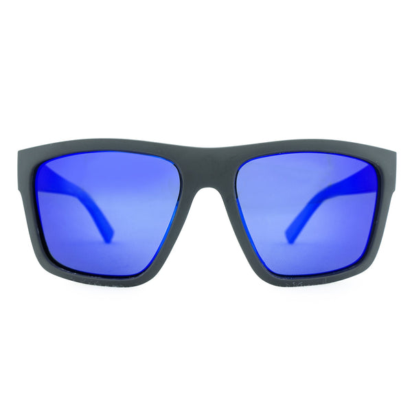 The Edge Polarised Sunglasses - Matt Black/Blue Revo