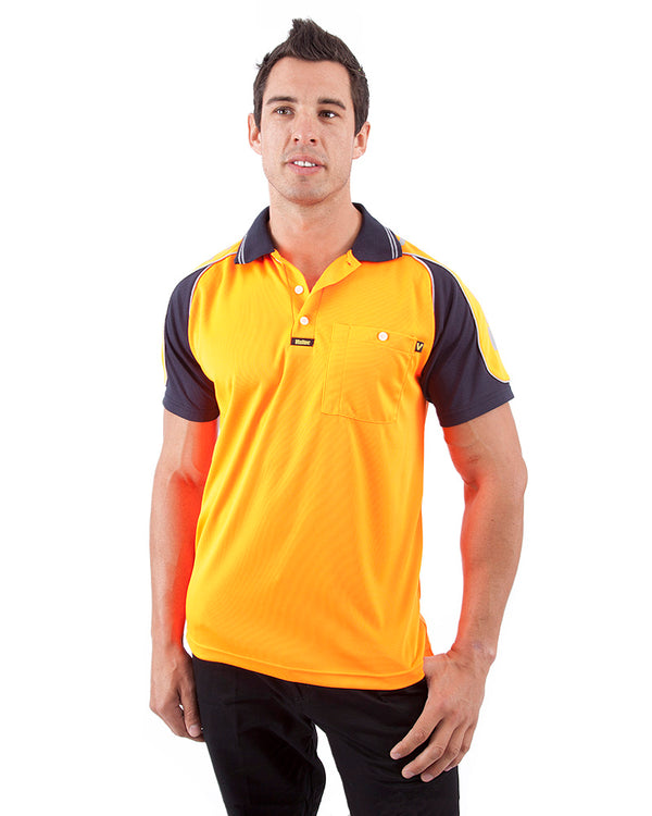 Chief Microfibre Polo Shirt SS - Orange/Navy