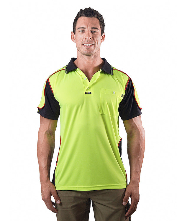 Chief Microfibre Polo Shirt SS - Yellow/Navy