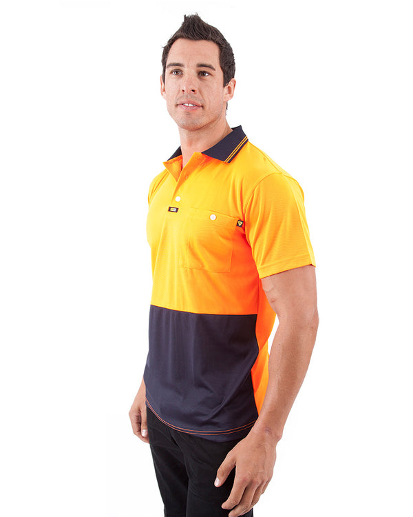 Original Microfibre Polo Shirt SS - Orange/Navy