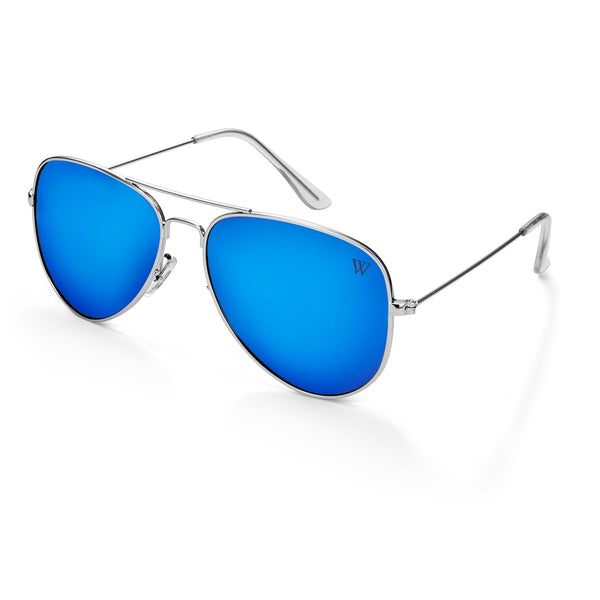 Landon In Silver And Blue Polarised - Silver