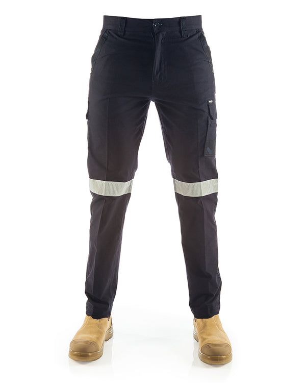 Stretch Canvas Cargo Taped Pants - Navy