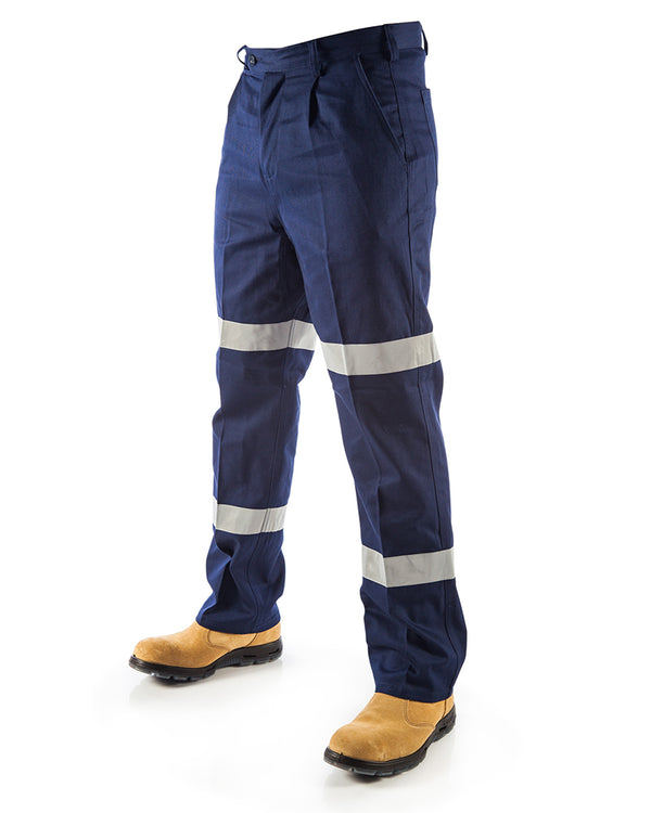 Cotton Drill Double Hooped Taped Pants (2 Pack) - Navy