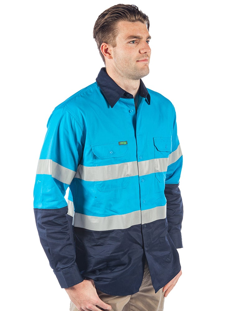 Hi Vis Taped Lightwight Cotton Shirt LS (3 Pack) - Blue/Navy