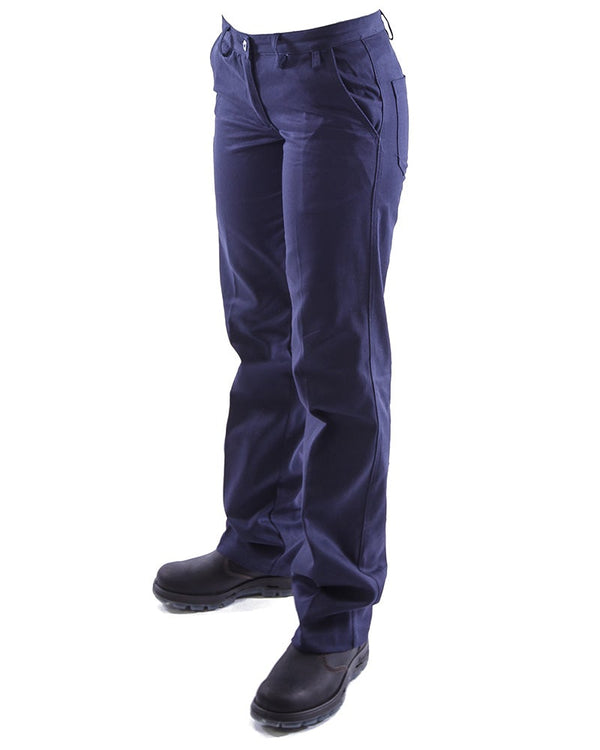 Womens Cotton Drill Work Pants (2 Pack) - Navy