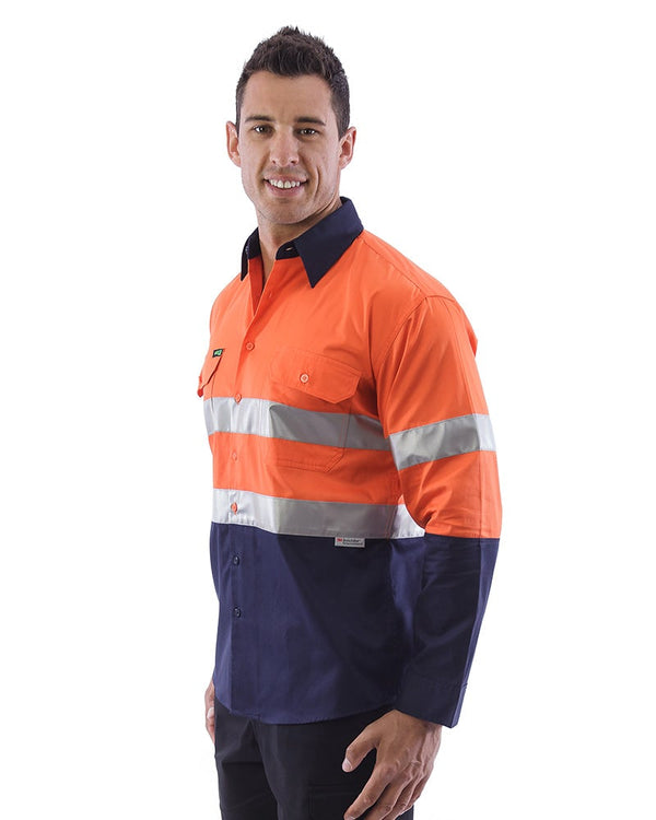 Hi Vis Taped Lightweight Cotton Shirt LS (3 Pack) - Orange/Navy