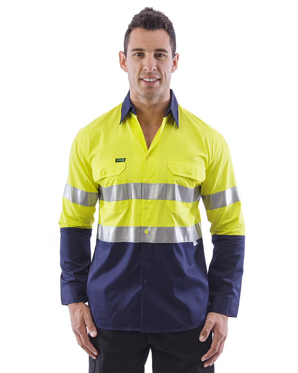 Hi Vis Taped Lightweight Cotton Shirt LS (3 Pack) - Yellow/Navy