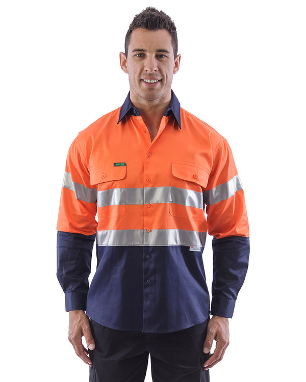 Hi Vis Taped Cotton Drill Shirt LS (3 Pack) - Orange/Navy