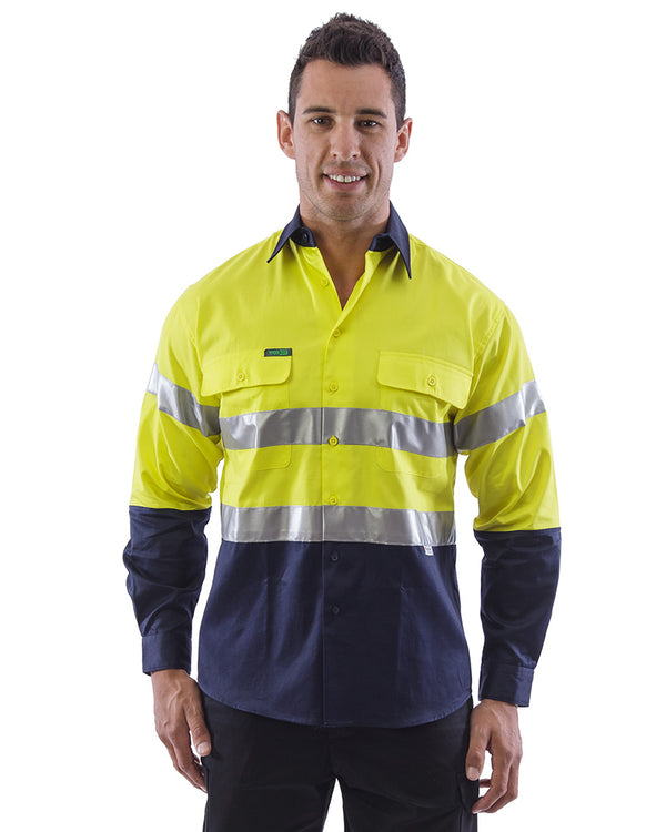 Hi Vis Taped Cotton Drill Shirt LS (3 Pack) - Yellow/Navy