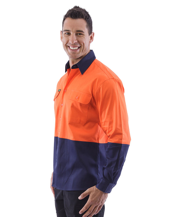 Hi Vis Cotton Drill Shirt LS (3 Pack) - Orange/Navy