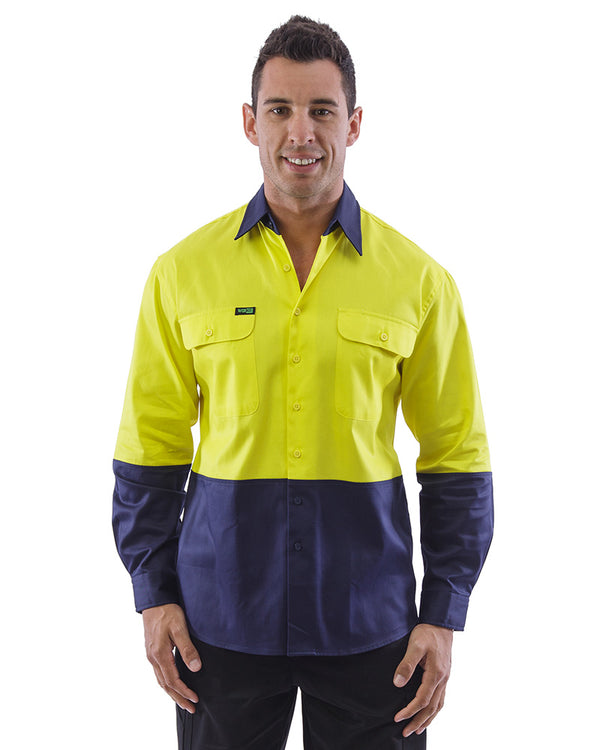 Hi Vis Cotton Drill Shirt LS (3 Pack) - Yellow/Navy
