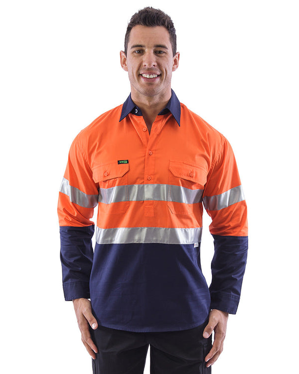 Hi Vis Taped Lightweight Closed Front Shirt LS (3 Pack) - Orange/Navy