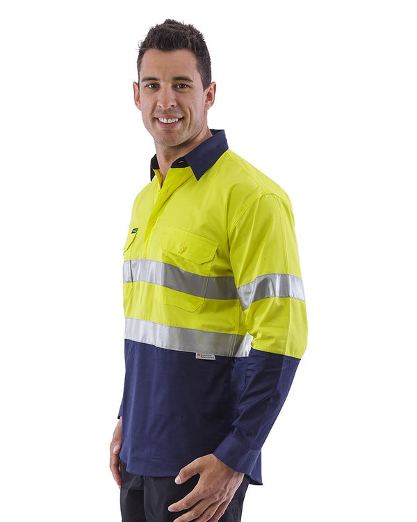 Hi Vis Taped Lightweight Closed Front Shirt LS (3 Pack) - Yellow/Navy