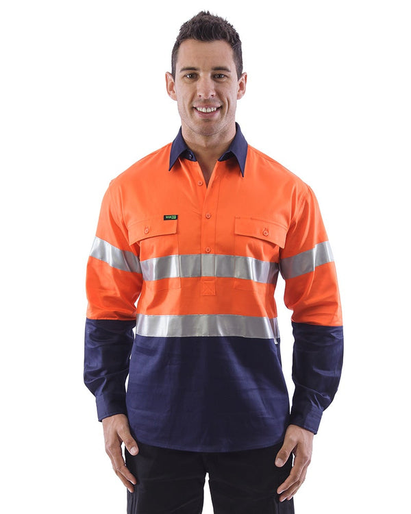 Hi Vis Taped Closed Front Cotton Drill Shirt LS (3 Pack) - Orange/Navy
