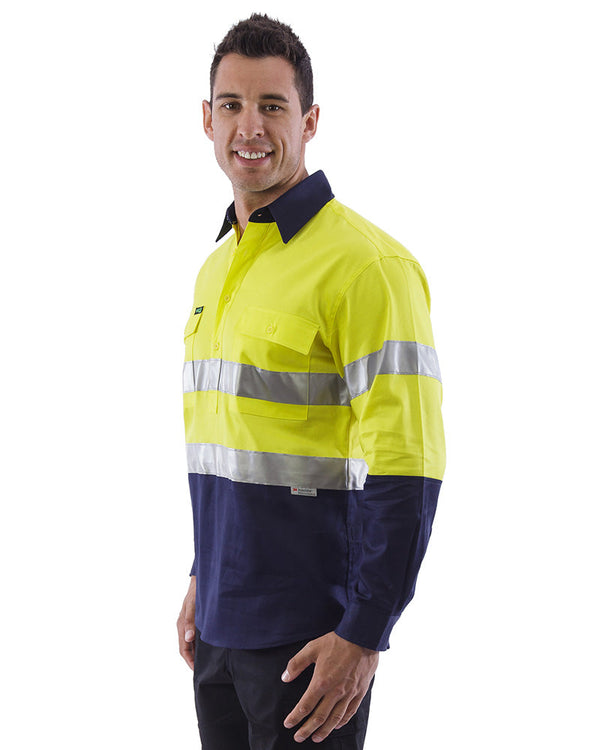 Hi Vis Taped Closed Front Cotton Drill Shirt LS (3 Pack) - Yellow/Navy