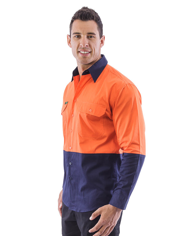 Hi Vis Lightweight Cotton Shirt LS (3 Pack) - Orange/Navy