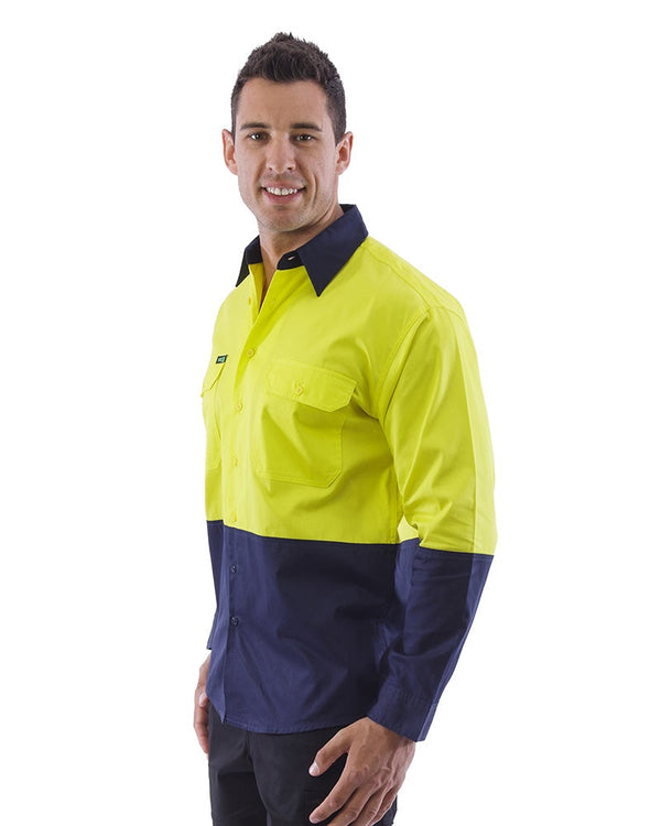 Hi Vis Lightweight Cotton Shirt LS (3 Pack) - Yellow/Navy