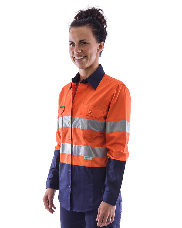 Womens L/S Hi Vis Lightweight Taped Cotton Shirt (3 Pack) - Orange/Navy