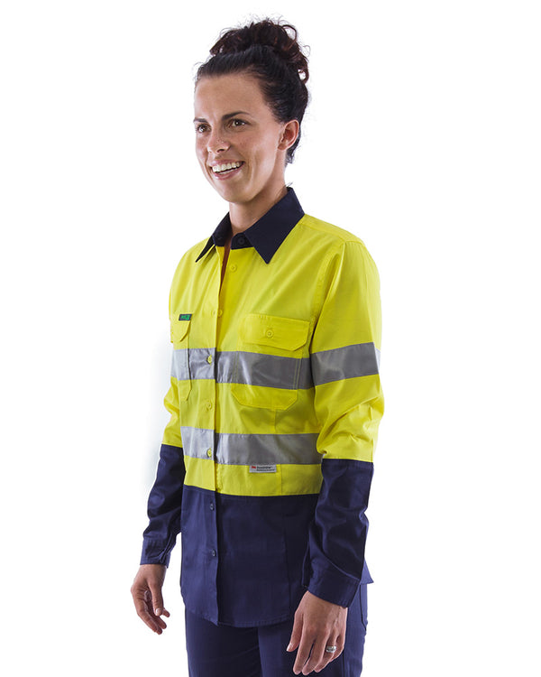 Womens L/S Hi Vis Lightweight Taped Cotton Shirt (3 Pack) - Yellow/Navy