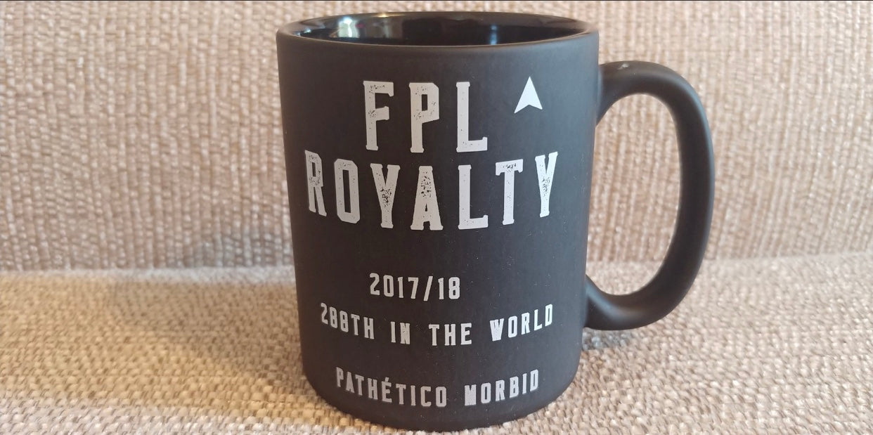 Custom black mug with your best ever fantasy football ranking
