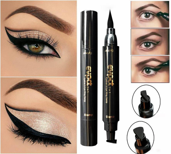 2 in 1 Quick Dry Waterproof Black Liquid Eyeliner Wing Seal Stamp Pencil