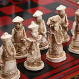 32 pcs Resin Chinese Chess With Coffee Wooden Table Vintage Collectibles Gift
