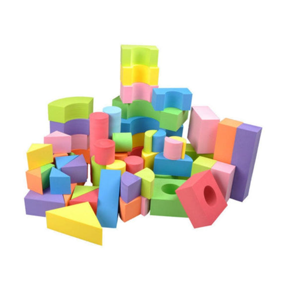 50 pcs Soft Lightweight EVA Foam Assembled Bricks Creative Building Blocks Toys