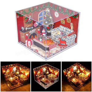 Miniature Wooden Doll House Christmas Room Puzzle Toy Gift