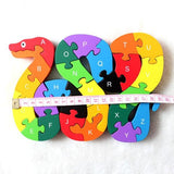 Educational Wooden Alphabet Number Building Block Jigsaw Puzzle Snake Shape Toys
