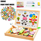 Wooden Magnetic Drawing Board Jigsaw Educational Puzzle Toys