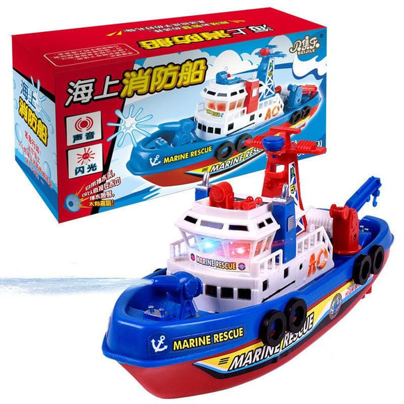 Electric Boat Toy with Music Sound Light Glowing Water Spray Model Building Toy