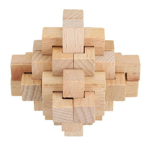3D Puzzle Cube Wood Assembling Challenge Brain Teaser Game Wooden Toys