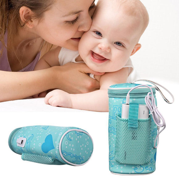 Portable USB Baby Bottle Warmer Heating Insulation Bag