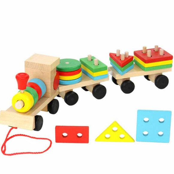 Wooden Vehicle Puzzles Solid Stacking Train for Children