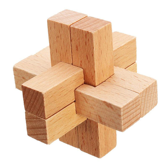 3D Lock Puzzle Cube Challenge Brain Teaser Game Wooden Toys