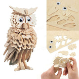 3D Wooden Owl Jigsaw Puzzle Pre Cut Shapes Brain Teaser Game Wooden Toys