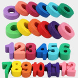 Clock Puzzle Wood Blocks Board Number and Colours Set Brain Teaser Game