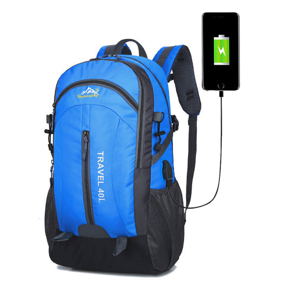 40L Climbing Waterproof Nylon Sports Travel Backpack with USB Port Anti Theft Shockproof Water Resistant