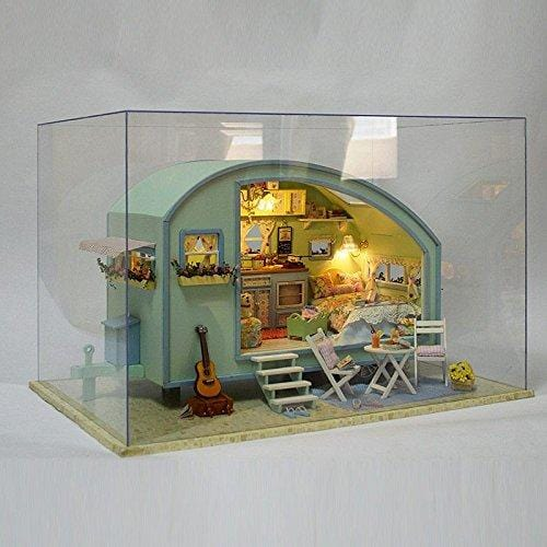 DIY Time Travel Wooden Dollhouse Miniature Kit with LED Music Voice Control