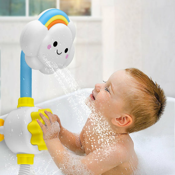 Baby Bath Shower Spray Cloud Rainbow Water Squirt Faucet Kids Bathing Toy