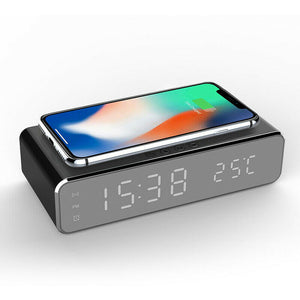 Electric LED Alarm Clock With Phone Wireless Charger Table Digital Display Desktop Clock