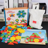 250pcs Colorful Wooden Geometric Shape Jigsaw Puzzle Blocks Educational Montessori Toy with Pattern Cards Set