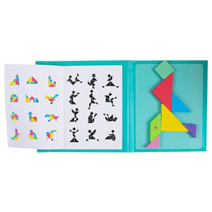 Magnetic Tangram Wooden Puzzle Board  Brain Teaser Game Wooden Toys