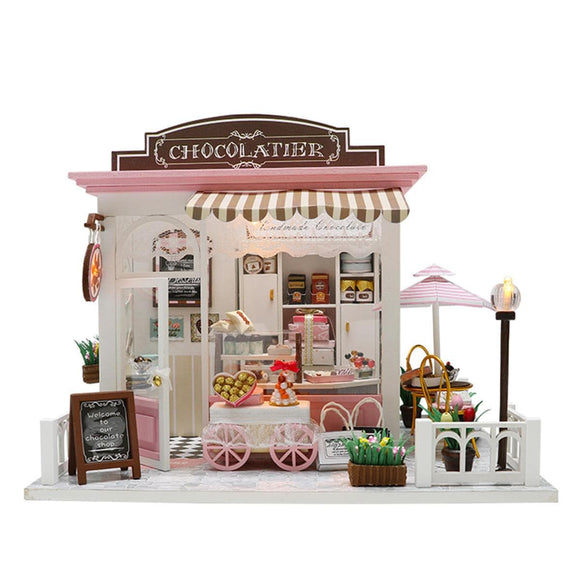 DIY Miniature Wooden Doll House Kit House Cake Shop Kids Craft Toys