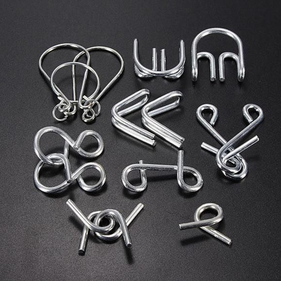 7pc Mind Game Brain Teaser Metal Wire Puzzles Set