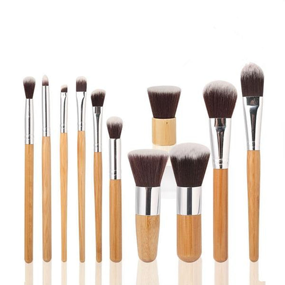 11pcs Natural Bamboo Handle Makeup Brushes Eco-friendly Cosmetics Set